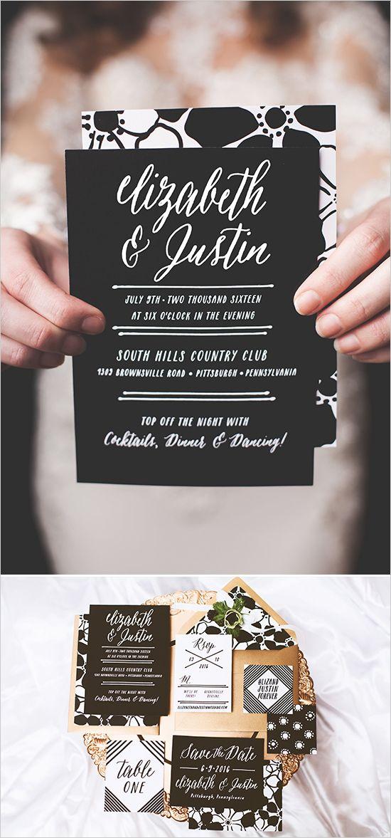 black and white wedding invitations @weddingchicks