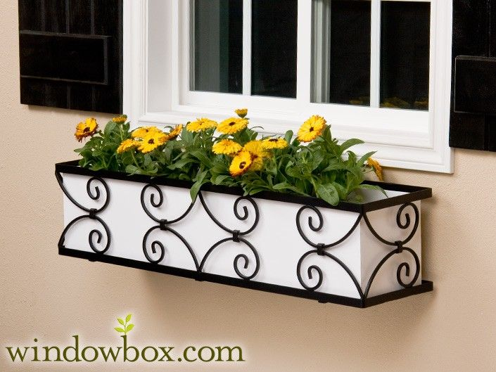 The Garden Gate Window Box Cage (Square Design) - Wrought Iron Window Boxes - Window Boxes - Windowbox.com