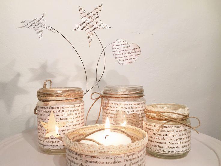Lumini creati utilizzando barattoli di vetro e vecchie pagine di un libro francese