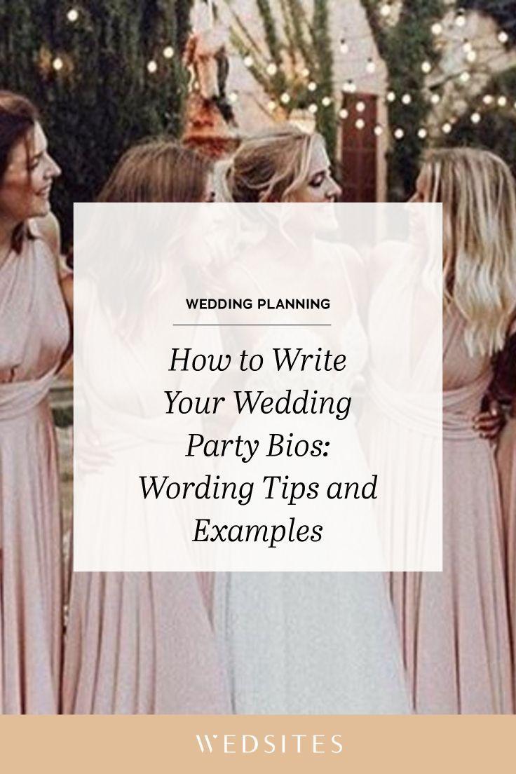 Wedding party bios example