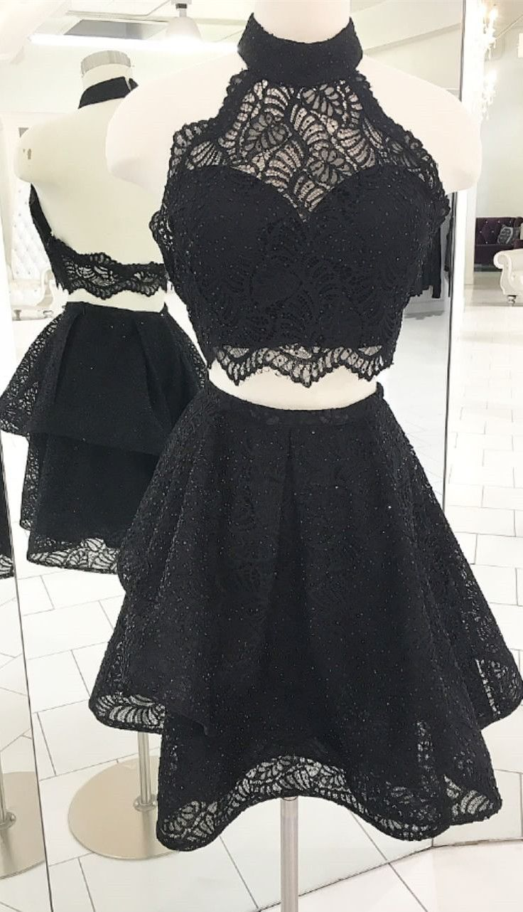 Two Piece Black Lace Short Homecoming Dresses 2018 Homecoming Dresses Halter High Neck Short Black Homecoming Dress Prom Dresses Two Piece Black Prom Dresses [ 1282 x 736 Pixel ]