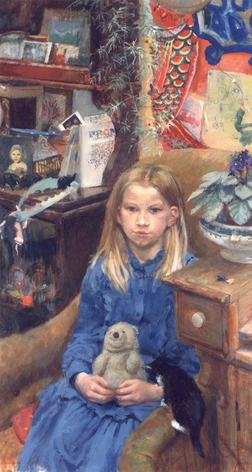 Jane Bond 'Kate Rattenbury' portrait painting of a child in oil with kitten and teddy bear
