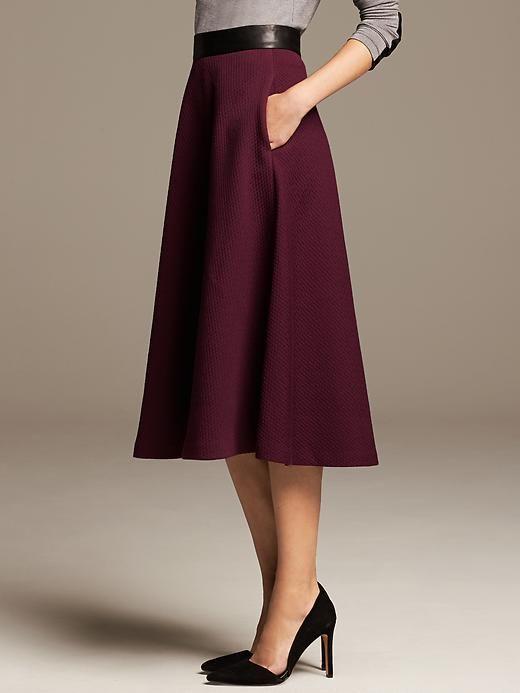 Burgundy Jacquard Midi Skirt Product Image