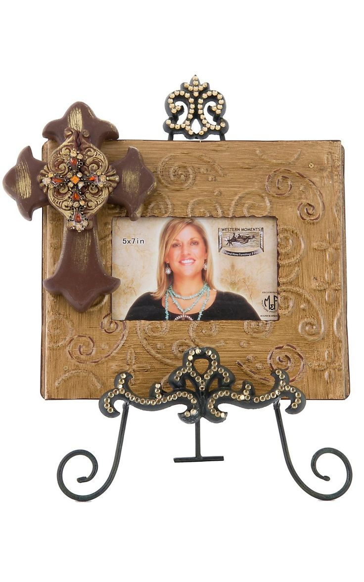M Western Products® Brown Picture Frame with Cross and Crystal Easel 2 Piece Set