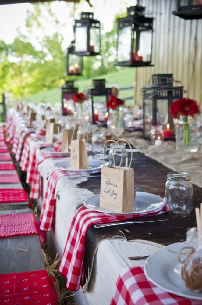 ikea borrby lanterns casual table setting red and white check napkins fun for western or italian theme