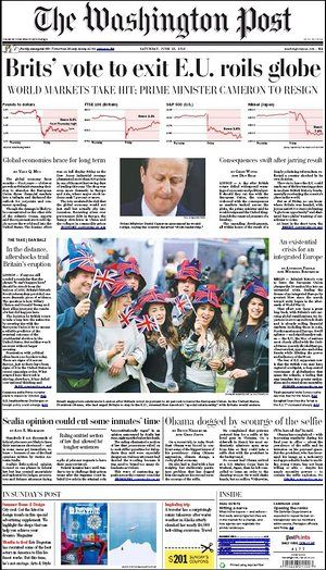 washington Post newspaper newspaper front page 25 June 2016 European Referendum David Cameron resignation