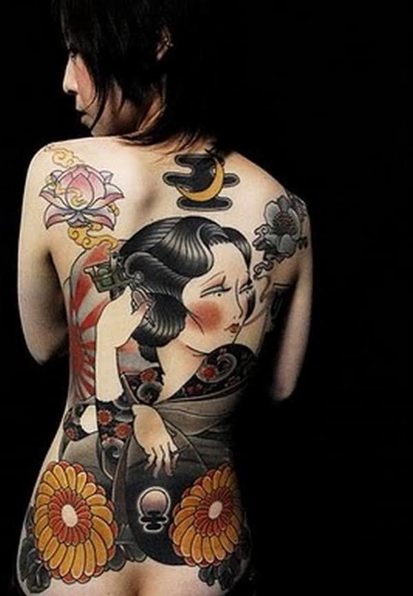 Back Body Geisha Tattoos
