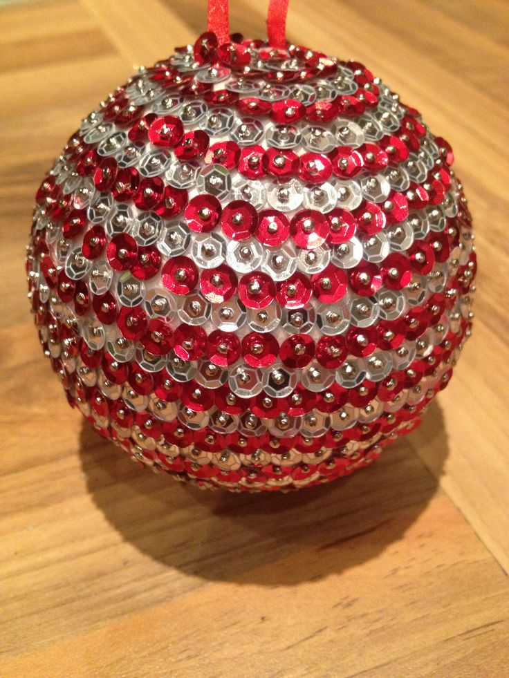 Home made baubles- Baubles made with polystyrene balls, sequin pins and a variety of coloured sequins - perfect for christmas but could be good for all year depending on your design