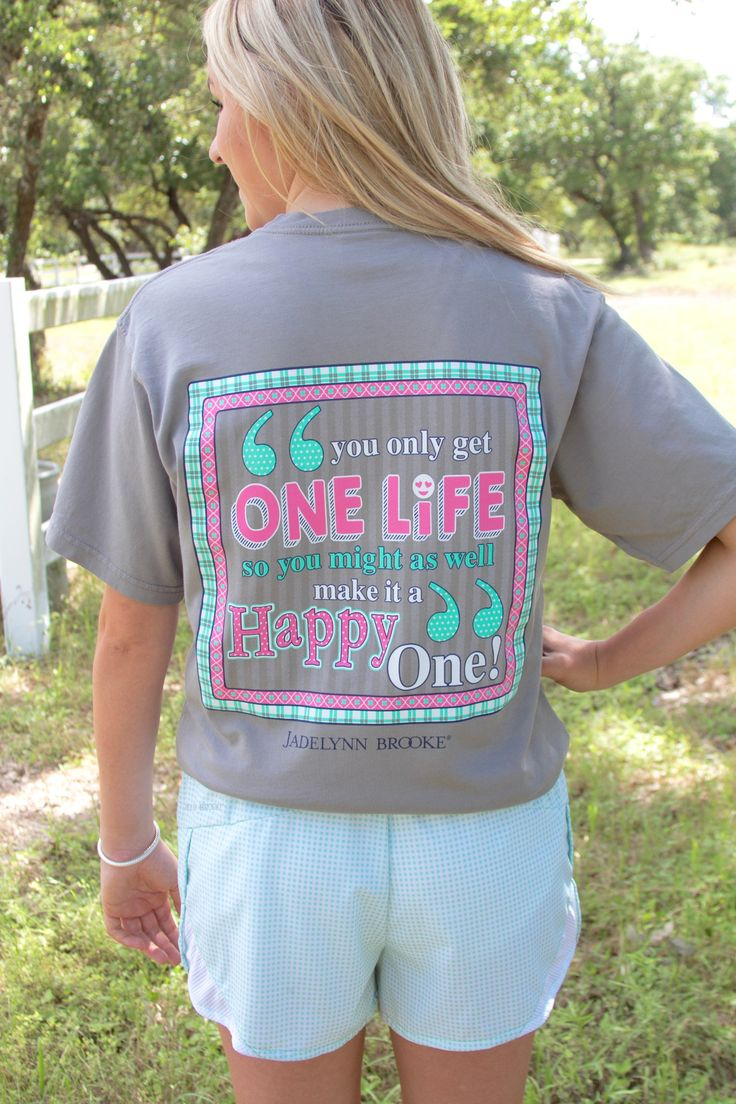 """NEW!! """"Happy Life"""" short sleeve! So cute and oh so comfy! Get yours now online at WWW.JADELYNNBROOKE.COM"""