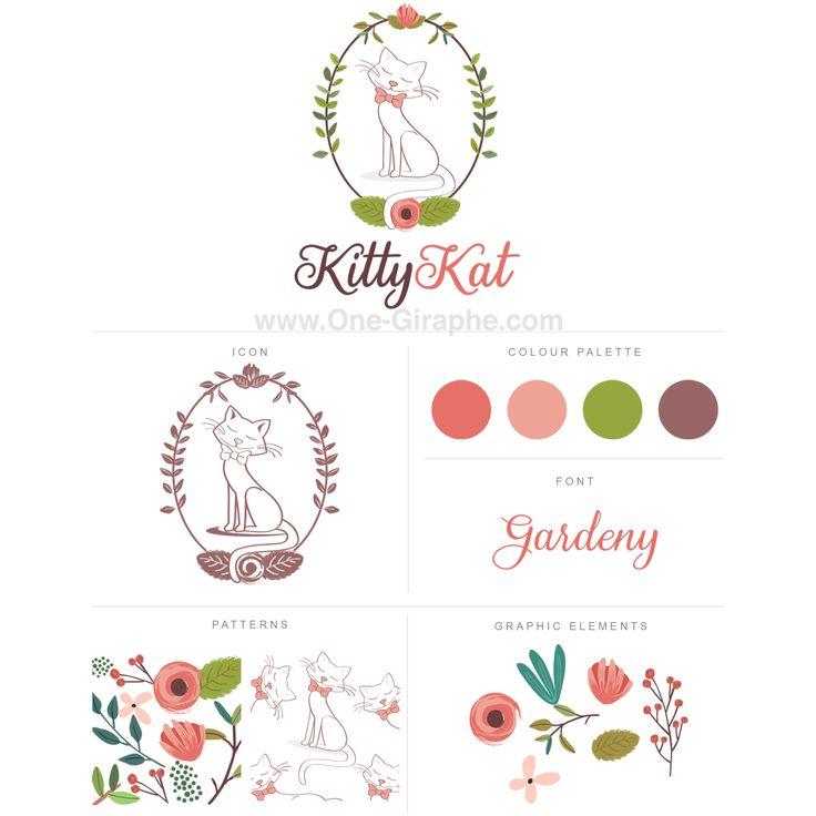 Logo for sale! http://one-giraphe.com/prev.php?c=170  #logo #logodesign #cat #kitty #flowers #watercolor #graphic