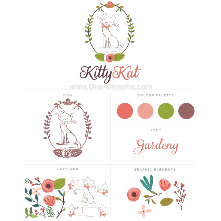 Logo for sale! http://one-giraphe.com/prev.php?c=170  #logo #logodesign #cat #kitty #flowers #watercolor #graphic