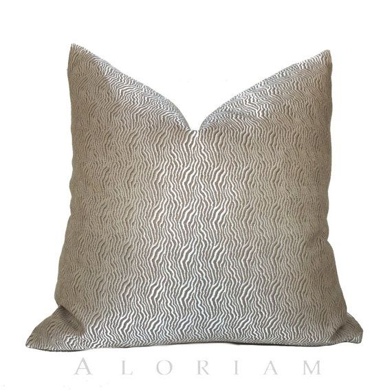 kravet candice olson abstract wavy lines silvery beige taupe decorative throw pillow cushion zipper cover fits inserts