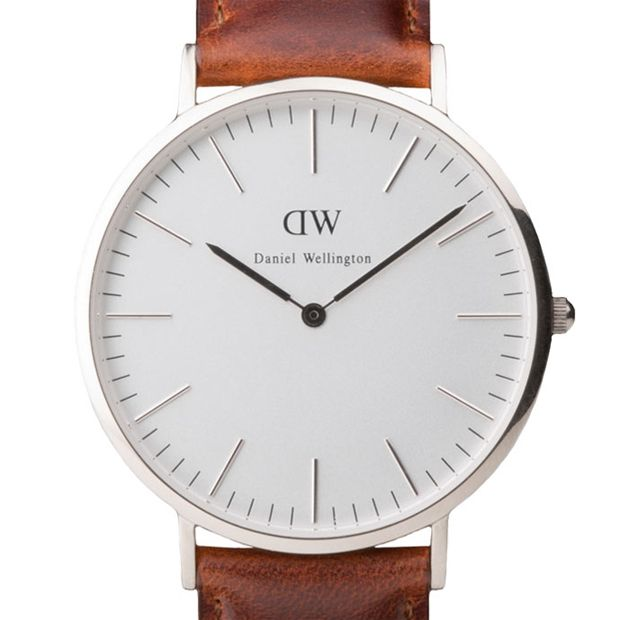 Classic St Andrews watch in silver with brown leather strap by Daniel Wellington. Available at Dezeenwatchstore.com #watches