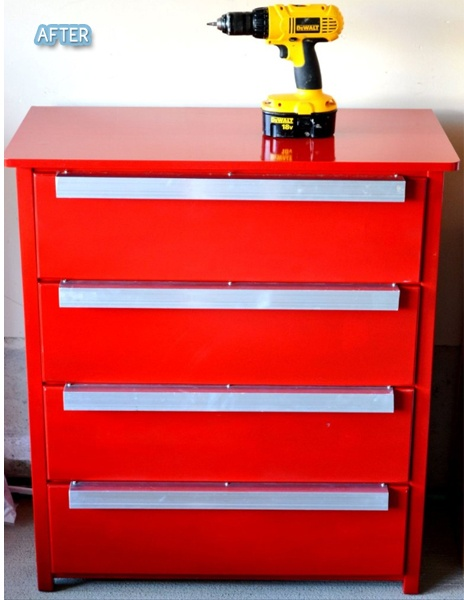 Dresser turned tool storage with high gloss red paint and metal sheeting for handles