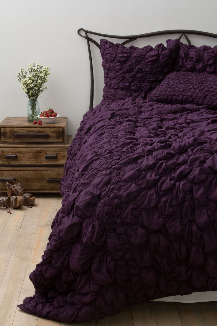 Bedspread designs texture - The Ruffled Texture And Deep Plum Shade Make The Anthropologie Catalina Quilt 248 To 348