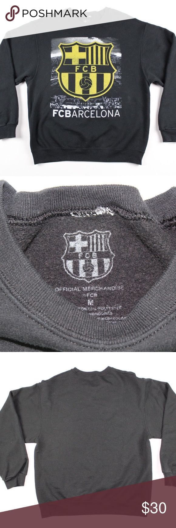 FC Barcelona Medium Soccer Futbol Crewneck Sweater FCB Official Merch FC Barcelona Soccer Futbol Crewneck Sweater  Excellent sweater  Comes from a smoke-free household  Black  The size is Medium and the measurements are 21.5 inches pit to pit and 26.5 inches shoulder to base  50% Cotton 50% Polyester  Thanks for looking, please do not hesitate to contact me   Check out my other items for sale in my store!  G27 FC Barcelona Sweaters Crewneck