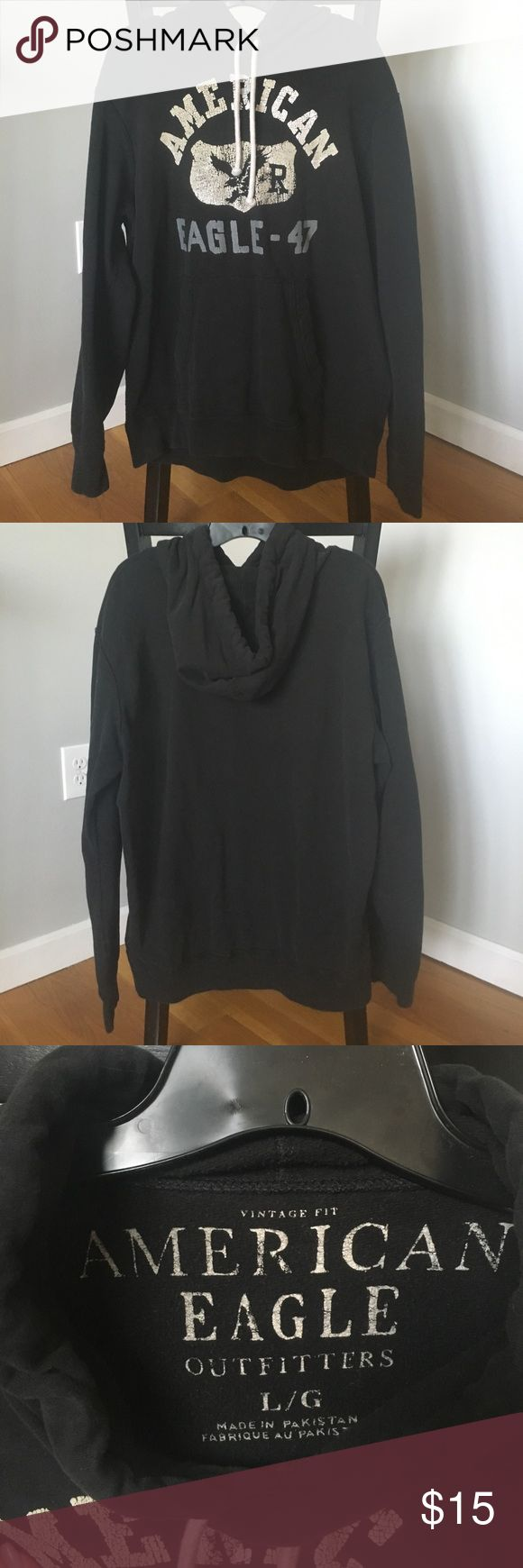 Mens black American Eagle sweatshirt size L Mens American Eagle brand hoodie with white graphics on front size large great condition! American Eagle Outfitters Tops Sweatshirts & Hoodies