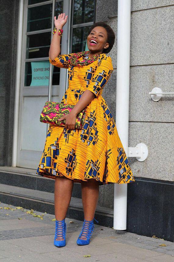 Jaune robe imprimé africain Ankara vêtements par EssieAfricanPrint