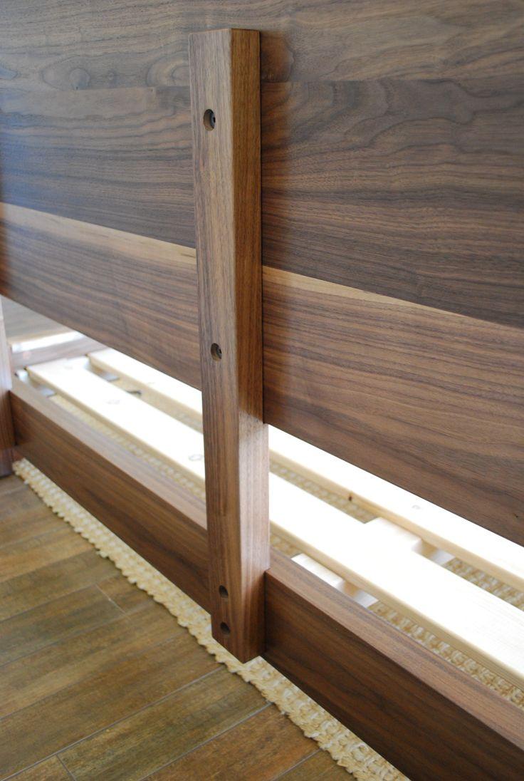 Best Low Profile Platform Bed With Solid Headboard In Walnut 400 x 300