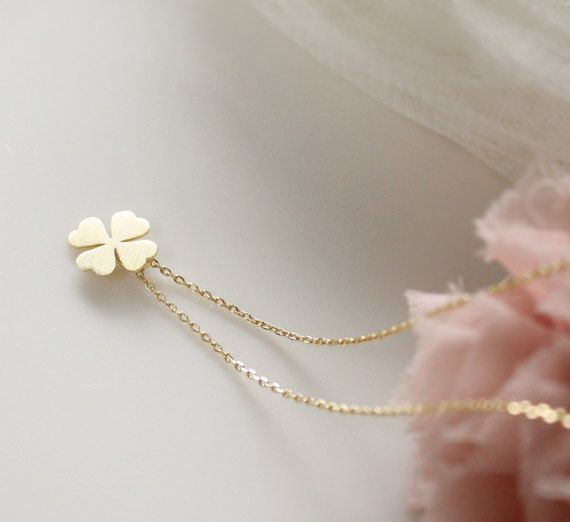 Four Leaf Clover Necklace- simle, cute, dainty jewerly- good luck. $15.00, via Etsy.