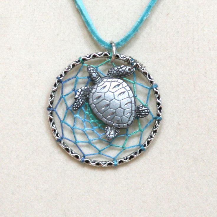 Dream Catcher Aqua Sea Turtle Antiqued Silver Dreamcatcher Necklace Variegated. $30.00, via Etsy.