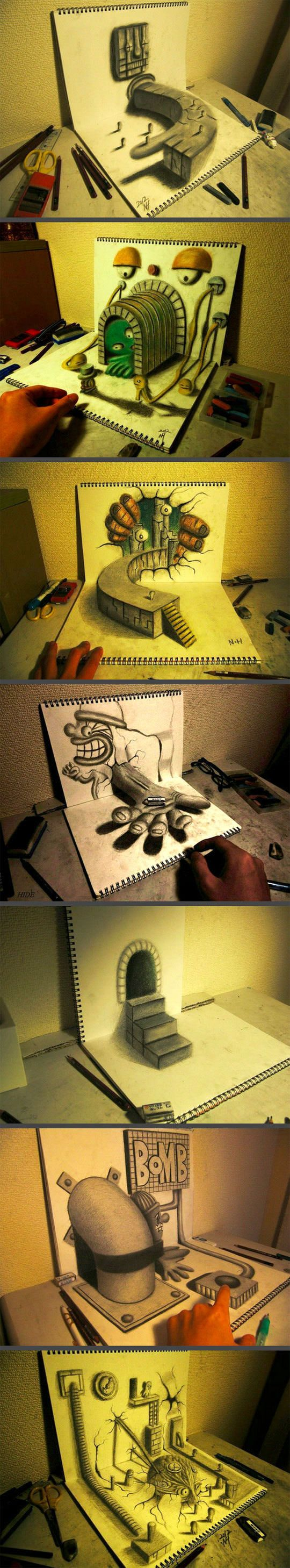 Optical illusion sketchbook drawings...