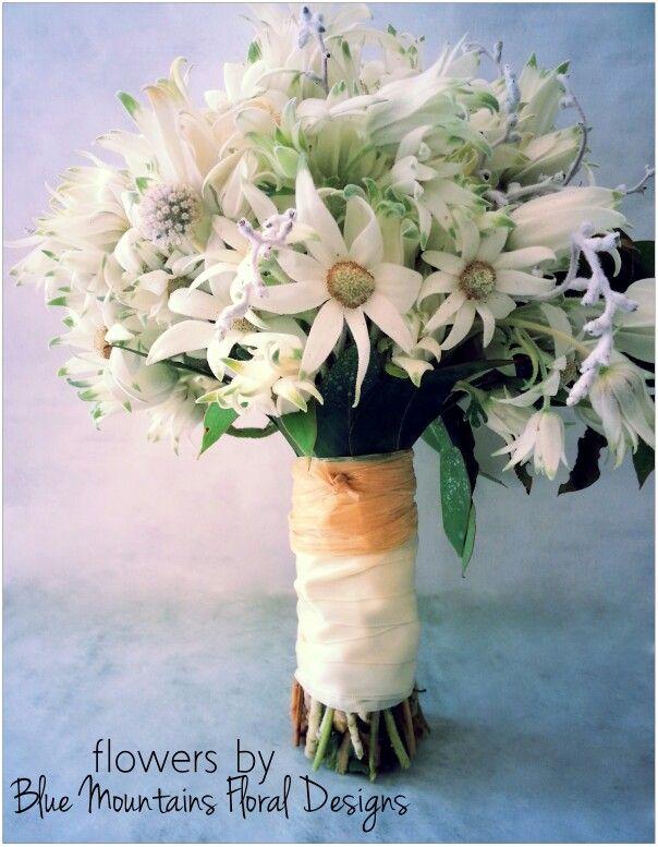 Australian Native Bouquet,  Flannel Flowers www.bluemountainsfloraldesigns.com