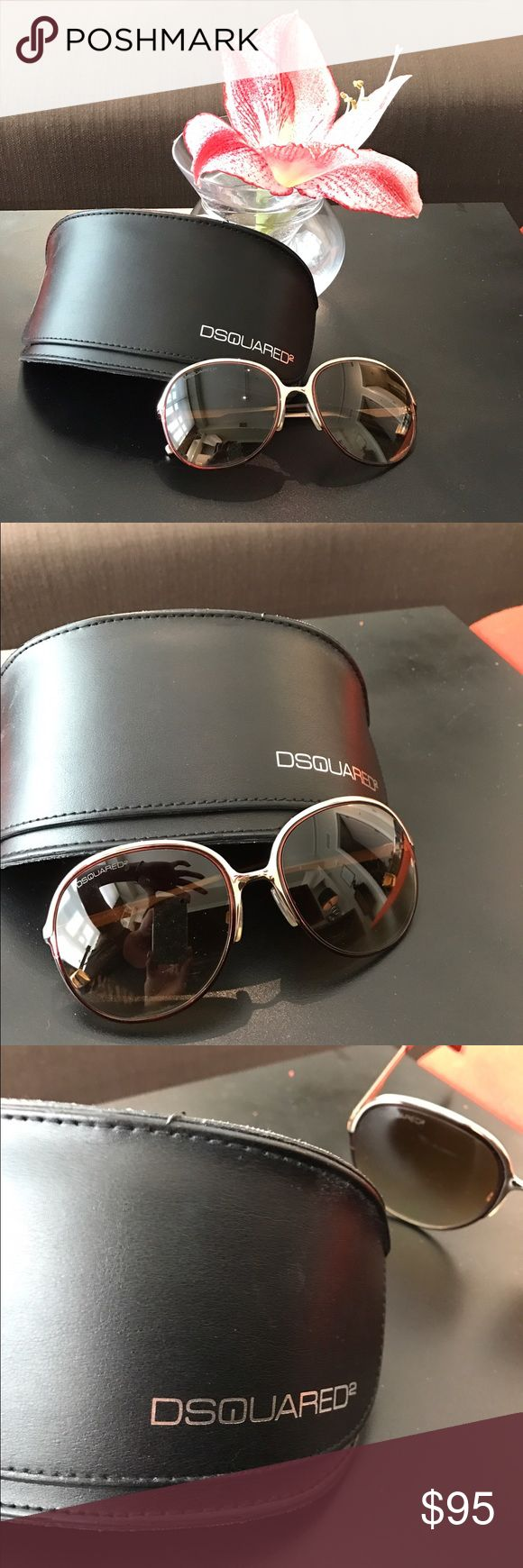 Like new! Dsquared sunglasses. Gold rim, tortoise Almost new! Dsquared2 sunglasses! Very stylish. I would keep but I just started wearing prescription sunglasses. They have a comfy nose piece. The top is rimed in gold & the bottom/ear piece has a slight tortoise look. They're a lot of fun! DSQUARED Accessories Sunglasses