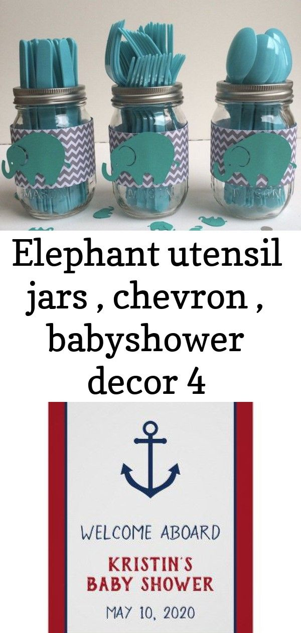 babyshower decor chevron Elephant utensil jars