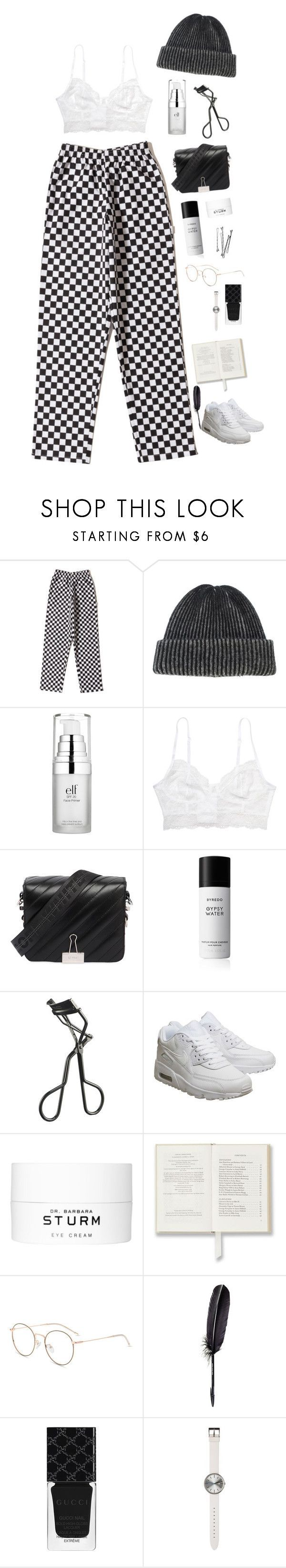 """Run"" by mode-222 ❤ liked on Polyvore featuring The Elder Statesman, Monki, Off-White, Byredo, MAC Cosmetics, NIKE, Maison Margiela, Gucci and Uniform Wares"