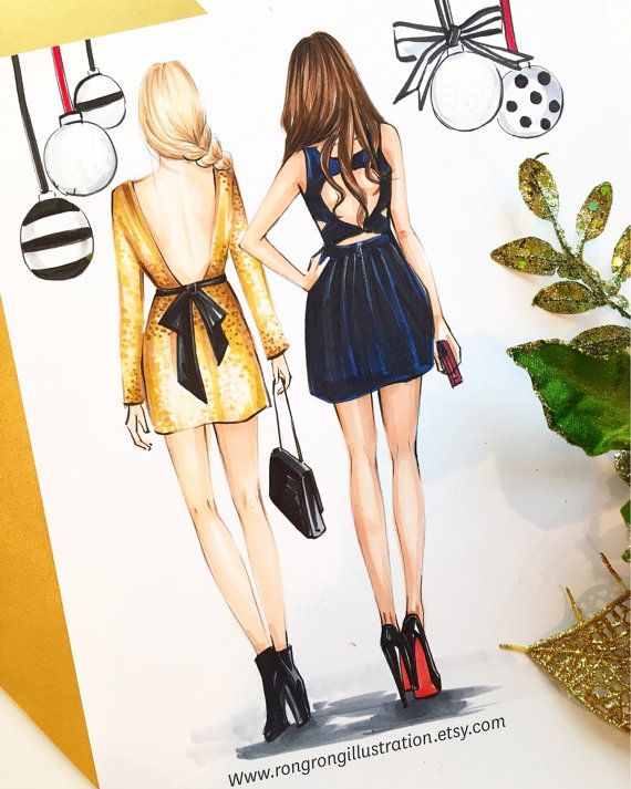 Best friend Fashion illustration,Best friends gift, Gossip Girl art,Fashion illustration,Fashion print,fashion poster,Titled,Party Time
