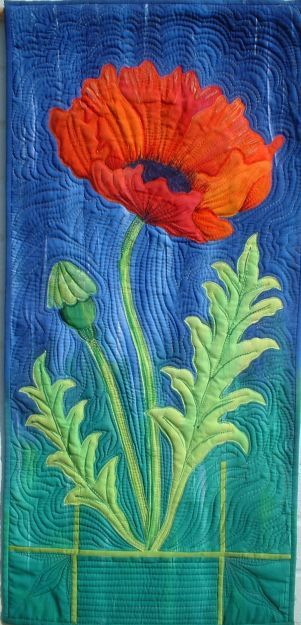 Poppy by Maureen Thomas at A Quilt Artist.  Hand painted applique