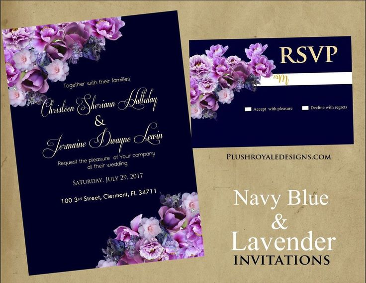 Navy blue and lavender wedding invitations purple and for Ebay navy wedding invitations