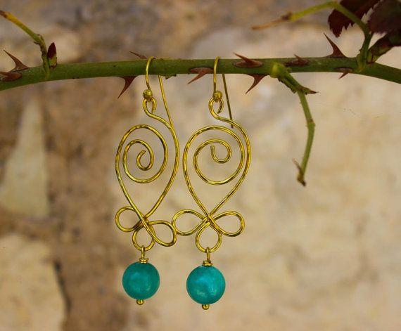 Handmade Brass Nefeli Earrings/Green Jade by jtfashionsoul on Etsy