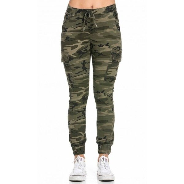 Drawstring Camouflage Cargo Jogger Pants (£27) ❤ liked on Polyvore featuring pants, bottoms, jogger pants, pocket pants, camouflage pants, draw string pants and camo cuff pants