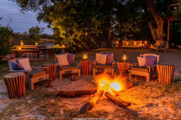 Outside dining at Sindabezi Island, part of Tongabezi Lodge near Livingstone, Zambia.