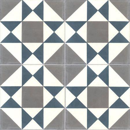 Carreaux de ciment intérieur Grenelle Premium, bleu et gris foncé