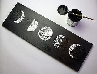 Phases of the moon art from pandaheadnewsletter.com. Aurora loves the phases of the moon right now. This would be fun to do for her room.
