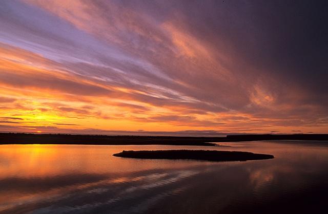 Arctic sunset - Orange, yellow, lilac, purple