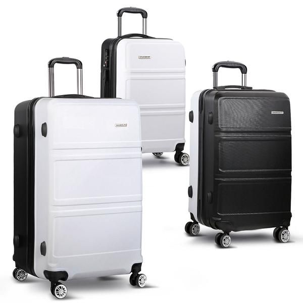 "3pc Luggage Set 20"", 24"" and 28"" – Black & White – Click Online Sales"