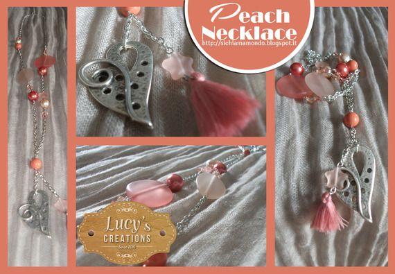 Collana romantica rosa pesca e corallo