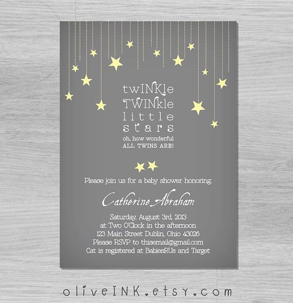 Twinkle twinkle little star twins baby shower by oliveINK on Etsy, $15.00