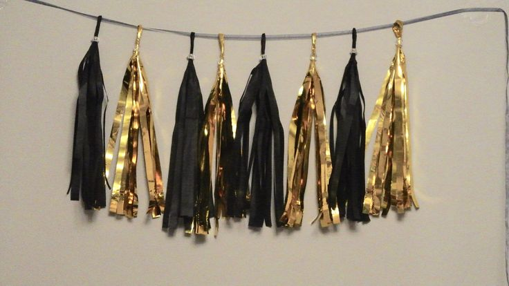 Black and Gold  Tassel Garland. Wedding Decor. Bachelorette Party. Tissue Paper Garland. Gatsby Party. New Years Decorations by PaperRabbit87 on Etsy