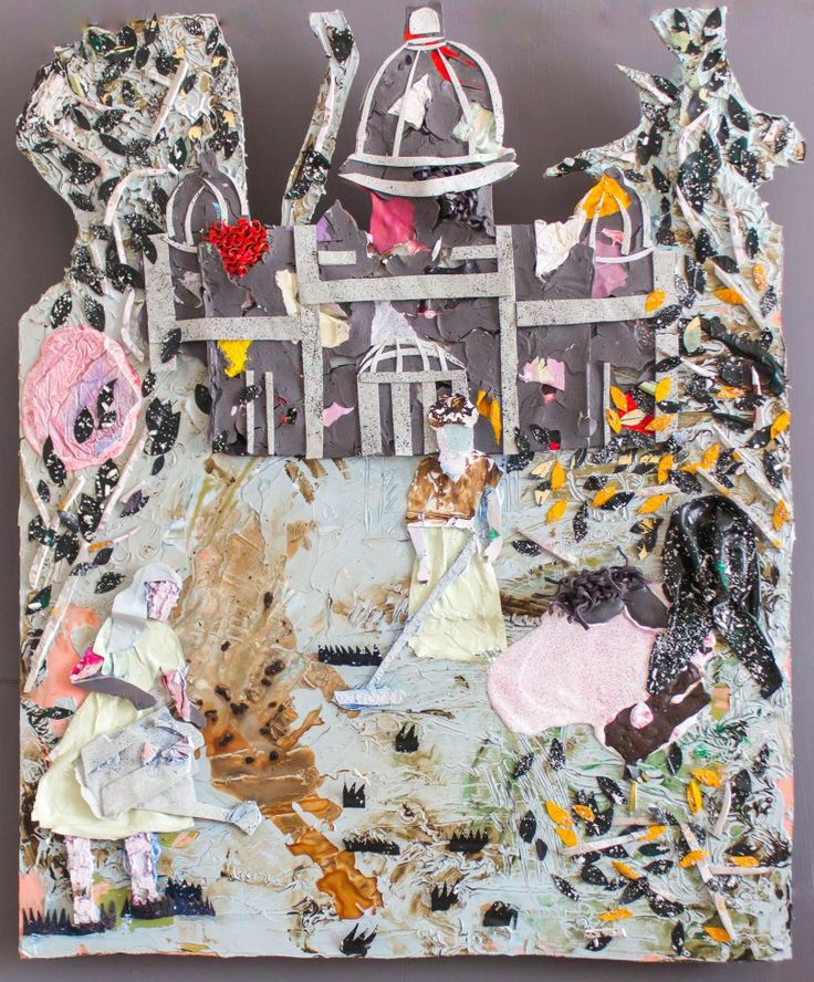Paint ing - painting/collage constructed out of acrylic/household paint skins and knitted paint - 75*65cm