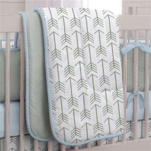 Gray And Lake Blue Arrow Crib Comforter Made With Care In The USA By Carousel Designs Measures Approximately Wide Long
