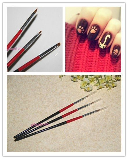 3pcs/set UV Gel Acrylic Nail Art Pen Brush Set for Nails Drawing  Fast Shipping