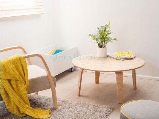 Mocka Basse Table with Britta Chair, Bronx Crate and Mod Ottoman