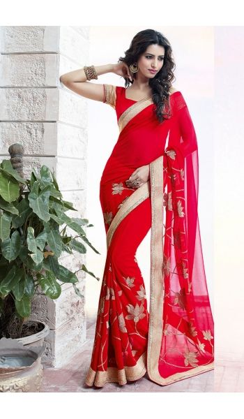 Appealing #Party #Wear #Red #Saree