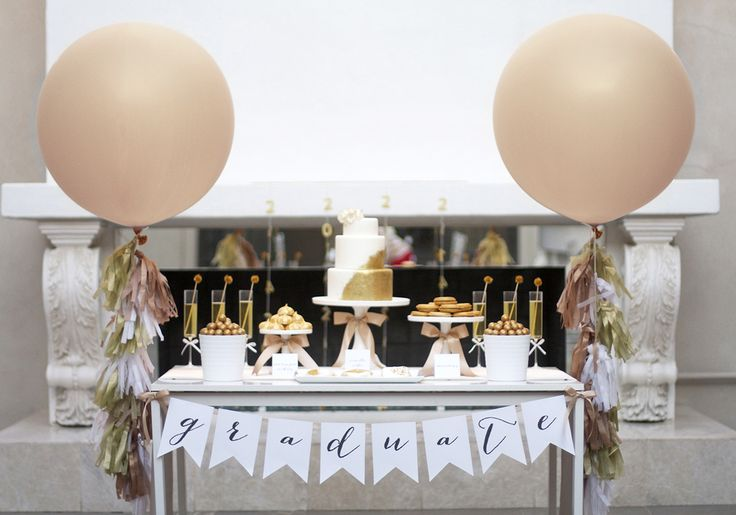 "Grad Party- but lots of the elements are perfect for a shower/wedding (36"" balloons, gold desserts, DIY gold vase, etc)"