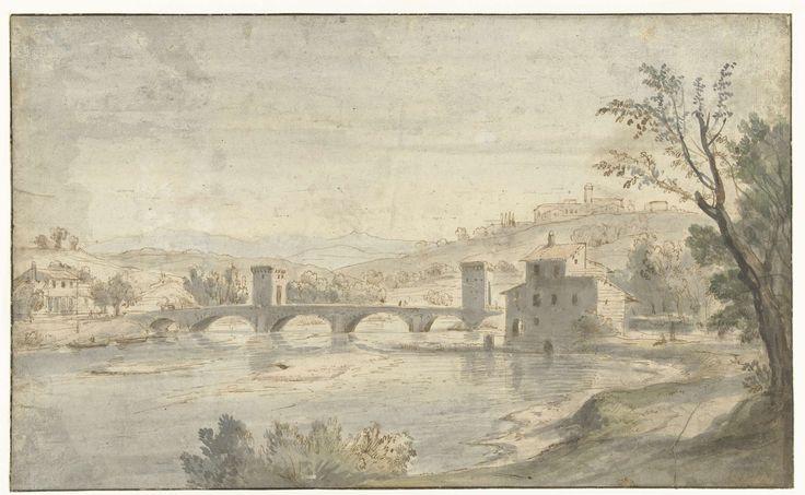 Gezicht op de Ponte Molle te Rome, Caspar van Wittel, 1663 - 1736
